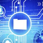 Database Management Concept: File Folder against blue background